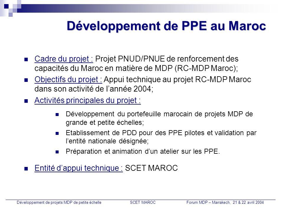 Développement de PPE au Maroc
