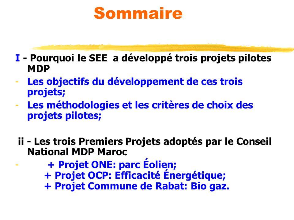 Sommaire I - Pourquoi le SEE a développé trois projets pilotes MDP