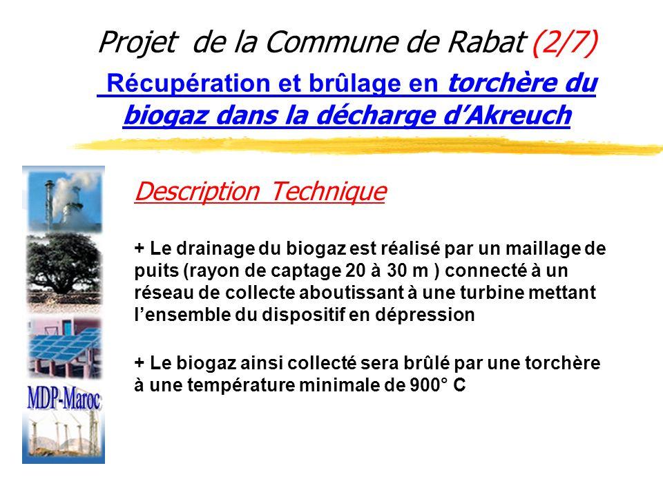 Projet de la Commune de Rabat (2/7) Récupération et brûlage en torchère du biogaz dans la décharge d'Akreuch