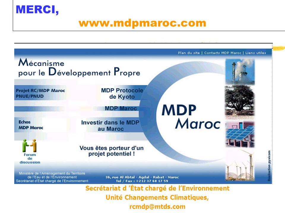 MERCI, www.mdpmaroc.com Secrétariat d 'État chargé de l'Environnement