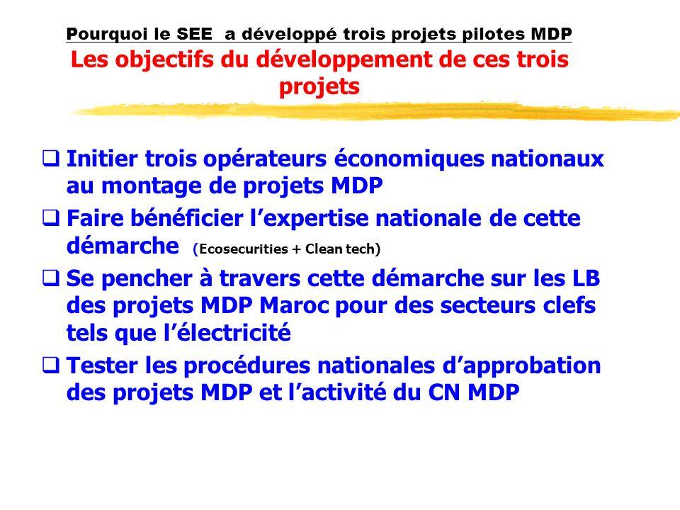Pourquoi le SEE a développé trois projets pilotes MDP Les objectifs du développement de ces trois projets