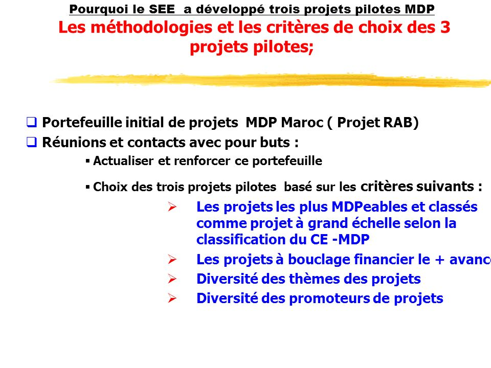 Portefeuille initial de projets MDP Maroc ( Projet RAB)