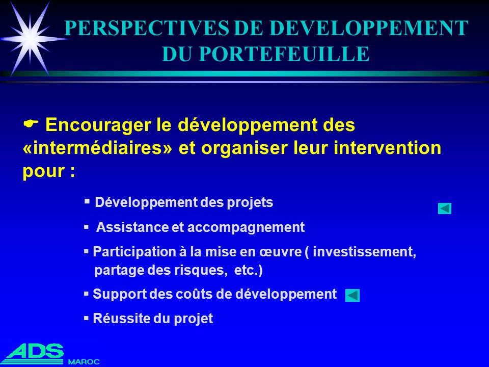 PERSPECTIVES DE DEVELOPPEMENT DU PORTEFEUILLE