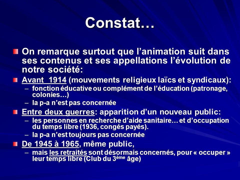Constat… On remarque surtout que l'animation suit dans ses contenus et ses appellations l'évolution de notre société: