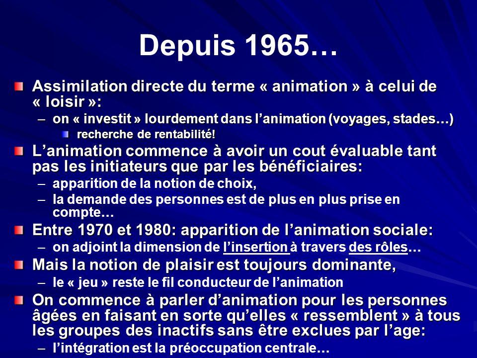 Depuis 1965… Assimilation directe du terme « animation » à celui de « loisir »: on « investit » lourdement dans l'animation (voyages, stades…)