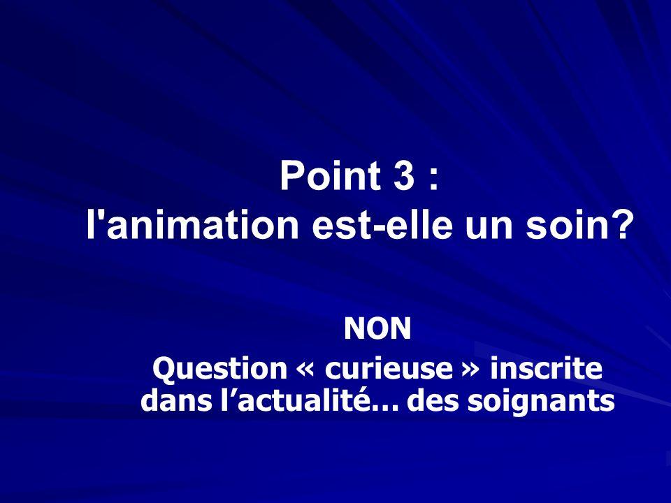Point 3 : l animation est-elle un soin
