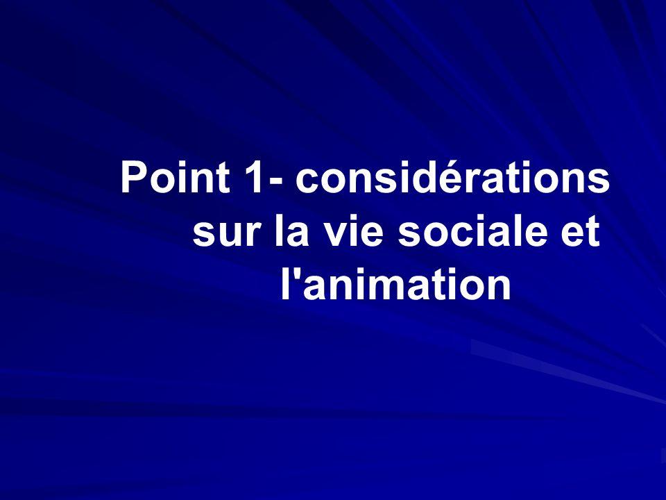 Point 1- considérations sur la vie sociale et l animation