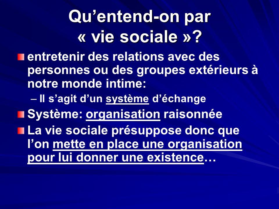 Qu'entend-on par « vie sociale »