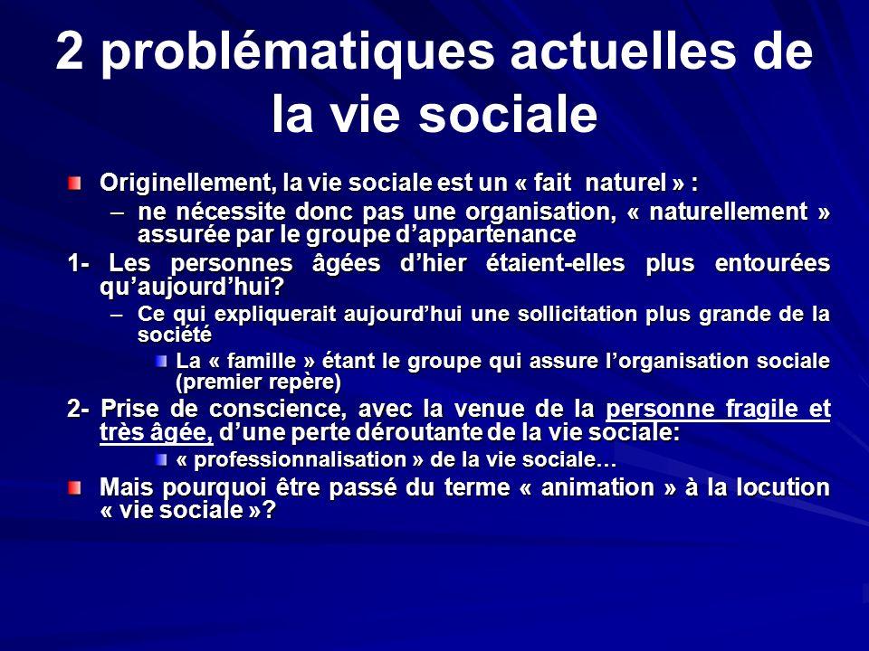2 problématiques actuelles de la vie sociale