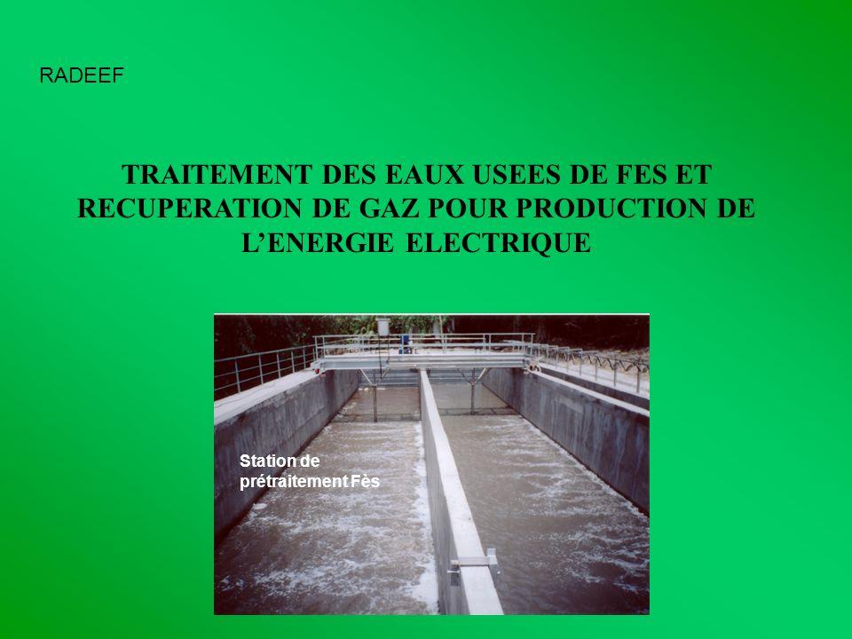RADEEFTRAITEMENT DES EAUX USEES DE FES ET RECUPERATION DE GAZ POUR PRODUCTION DE L'ENERGIE ELECTRIQUE.