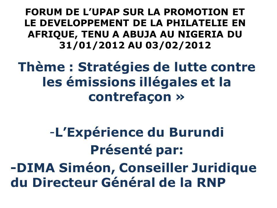 L'Expérience du Burundi