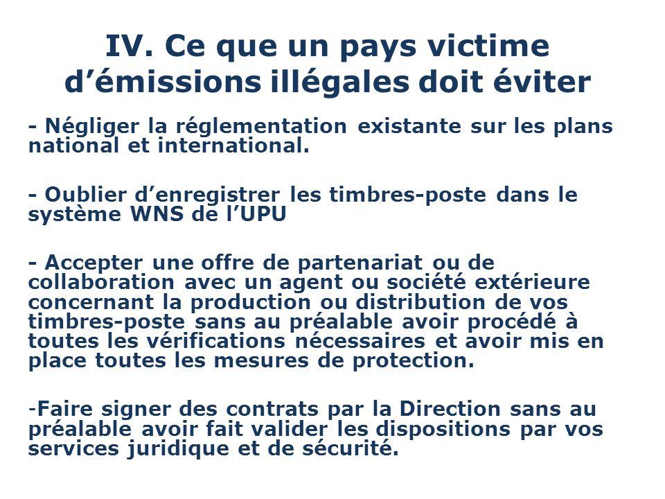 IV. Ce que un pays victime d'émissions illégales doit éviter