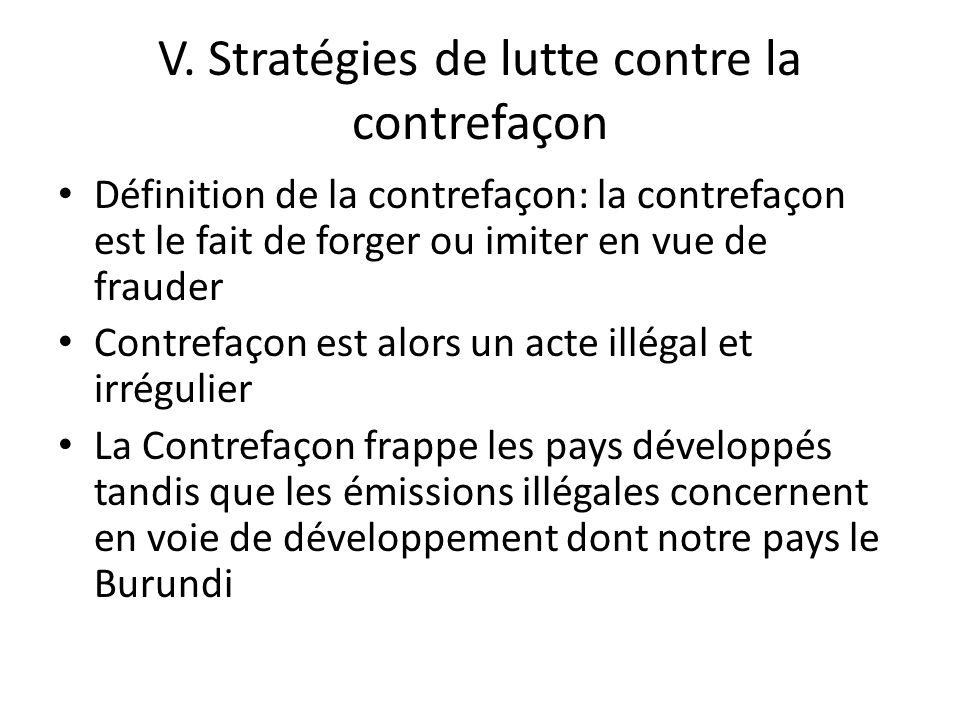 V. Stratégies de lutte contre la contrefaçon