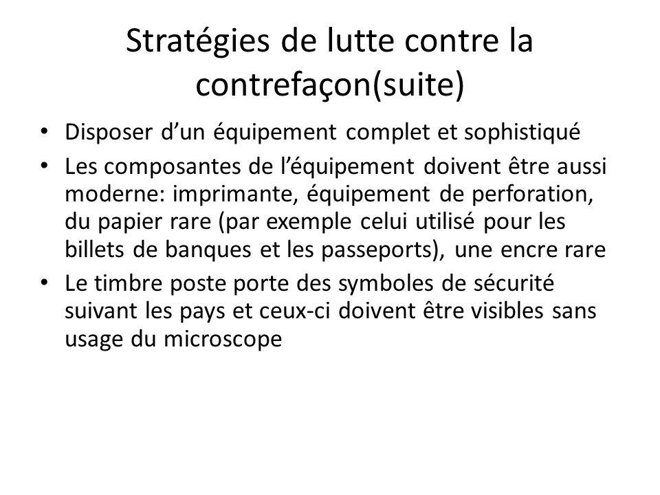 Stratégies de lutte contre la contrefaçon(suite)