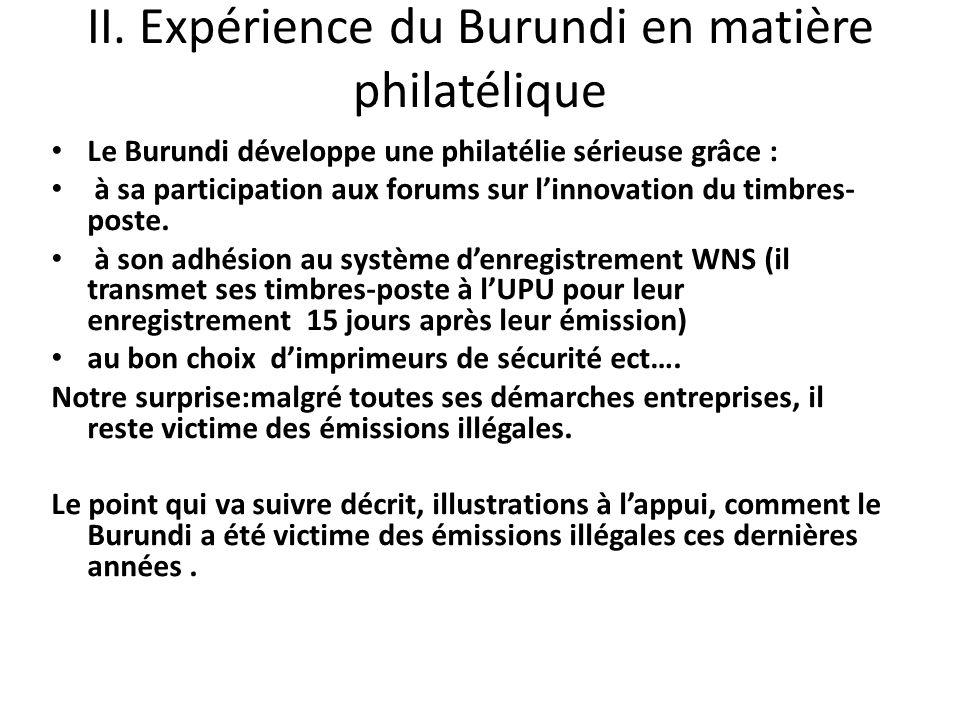 II. Expérience du Burundi en matière philatélique