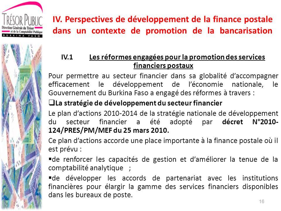 IV. Perspectives de développement de la finance postale dans un contexte de promotion de la bancarisation