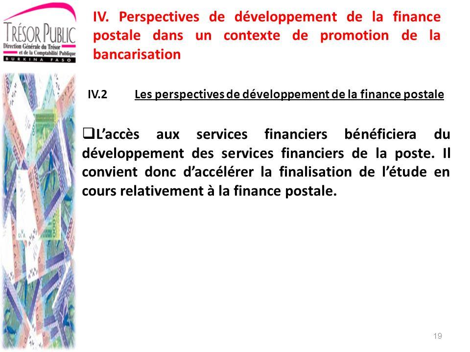IV.2 Les perspectives de développement de la finance postale