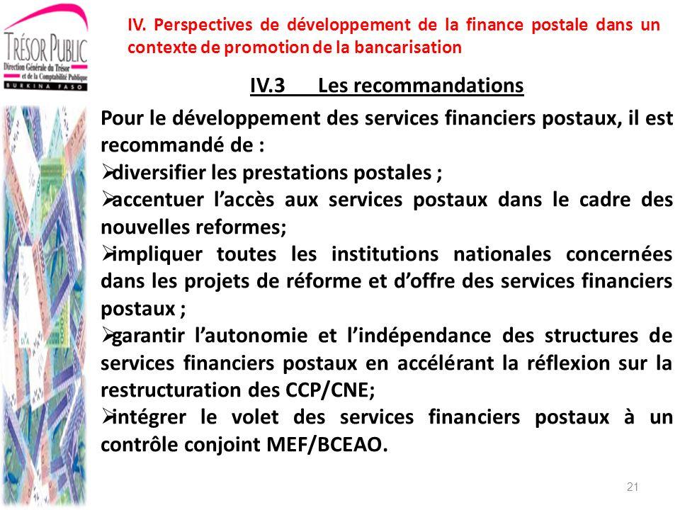 IV.3 Les recommandations
