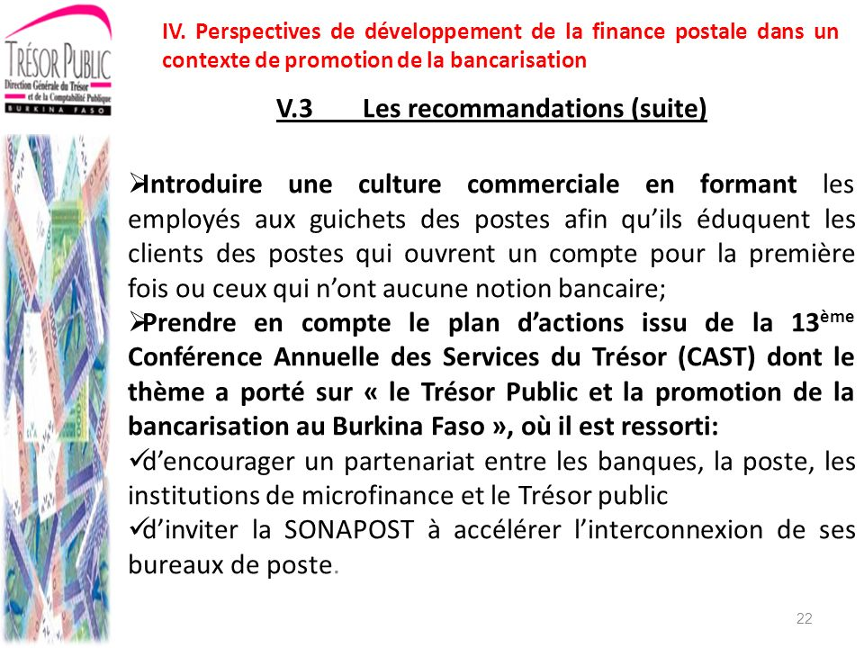 V.3 Les recommandations (suite)