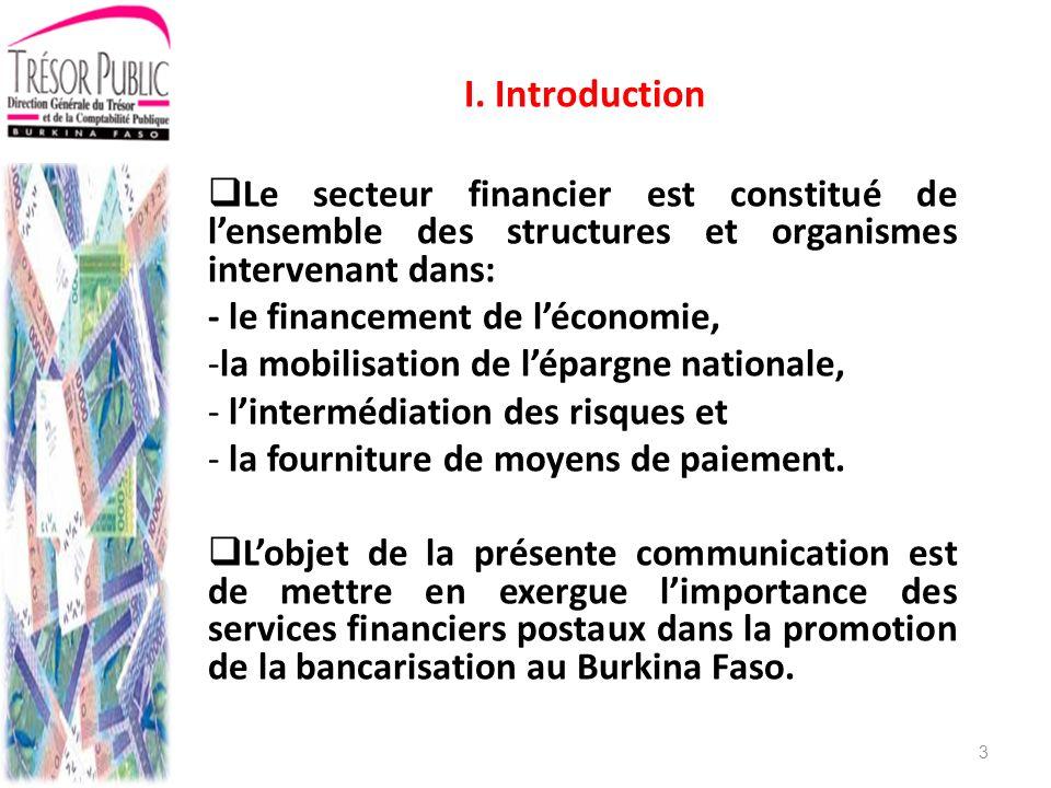 I. Introduction Le secteur financier est constitué de l'ensemble des structures et organismes intervenant dans: