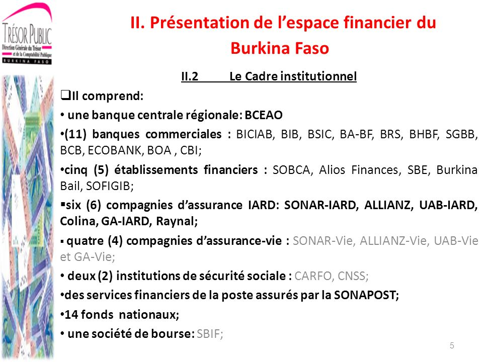 II.2 Le Cadre institutionnel