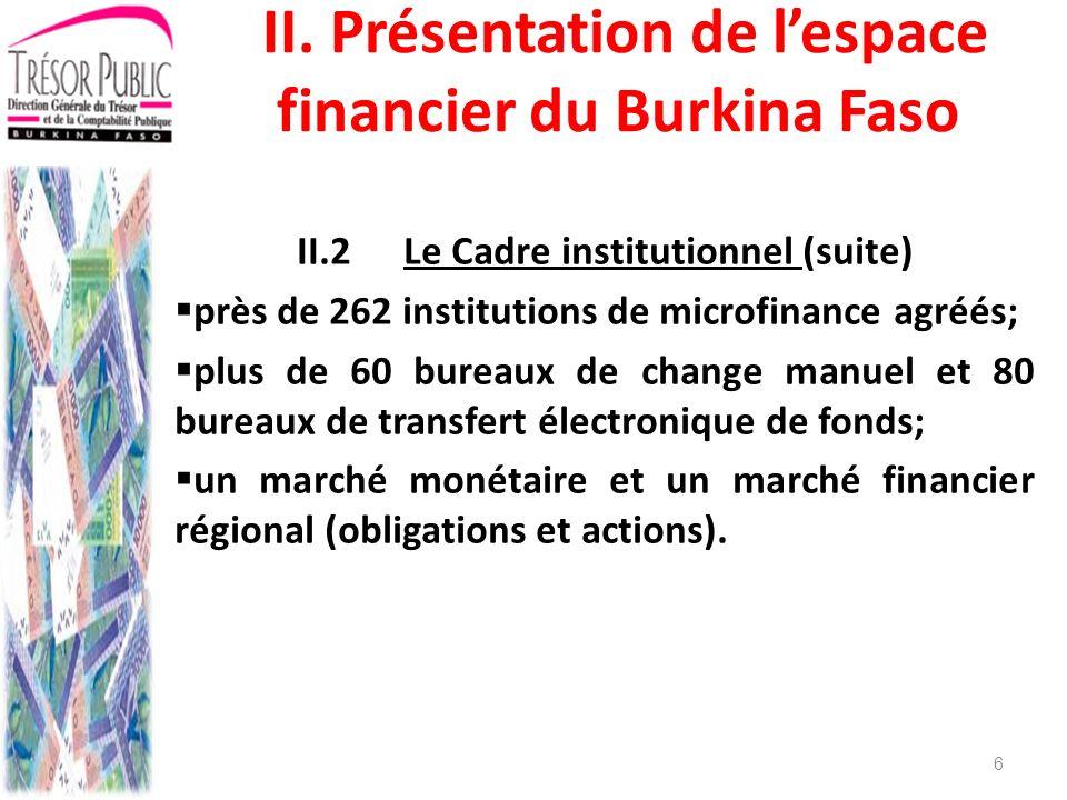 II.2 Le Cadre institutionnel (suite)