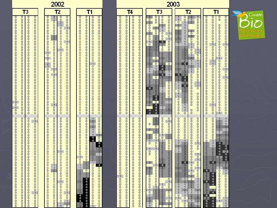 Populations de nématodes augmentent, T4 OK, T1 Sud solarisation, T3 explosion !!!!