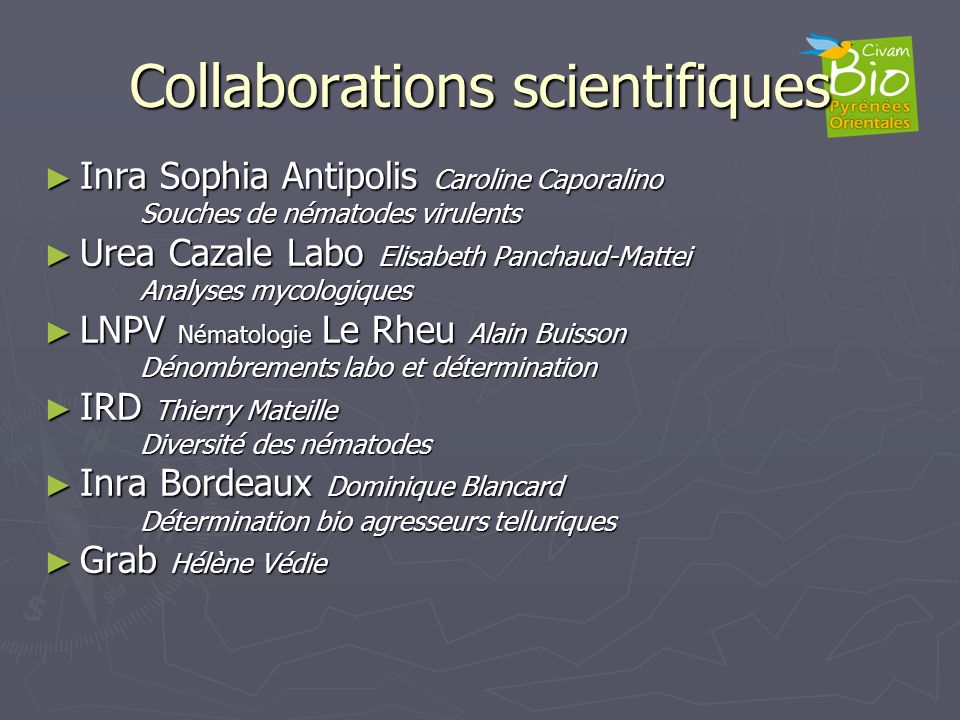 Collaborations scientifiques