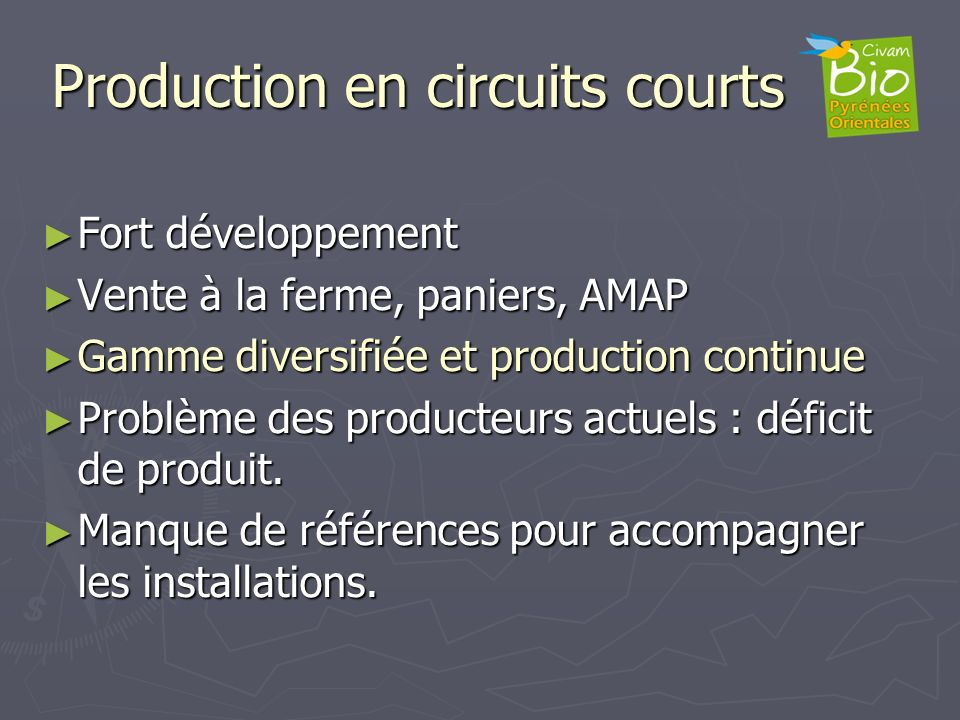 Production en circuits courts