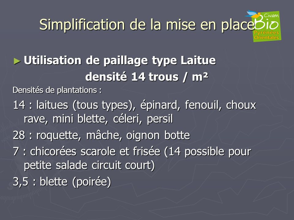 Simplification de la mise en place