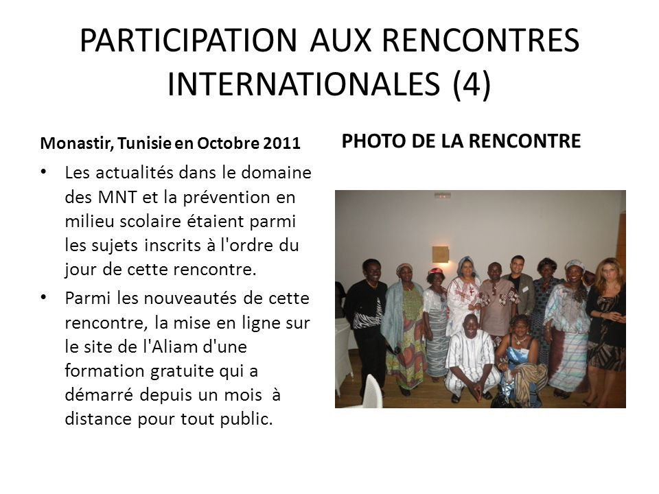 PARTICIPATION AUX RENCONTRES INTERNATIONALES (4)