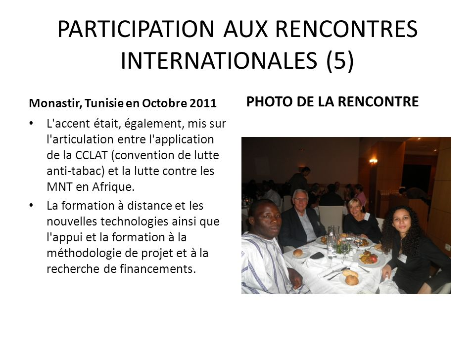 PARTICIPATION AUX RENCONTRES INTERNATIONALES (5)