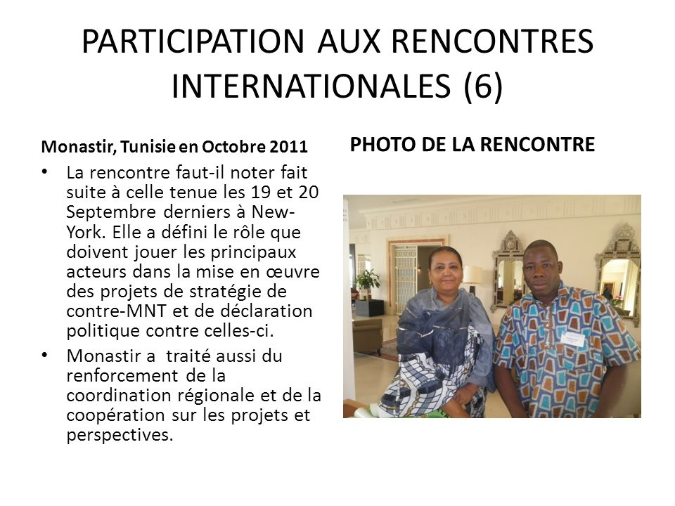 PARTICIPATION AUX RENCONTRES INTERNATIONALES (6)