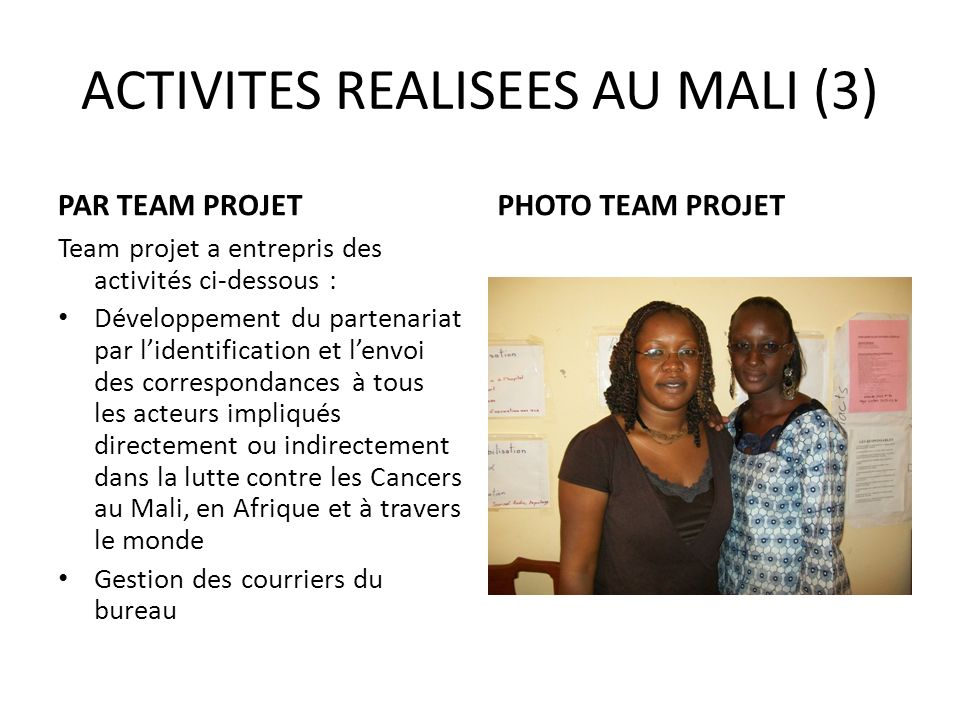 ACTIVITES REALISEES AU MALI (3)