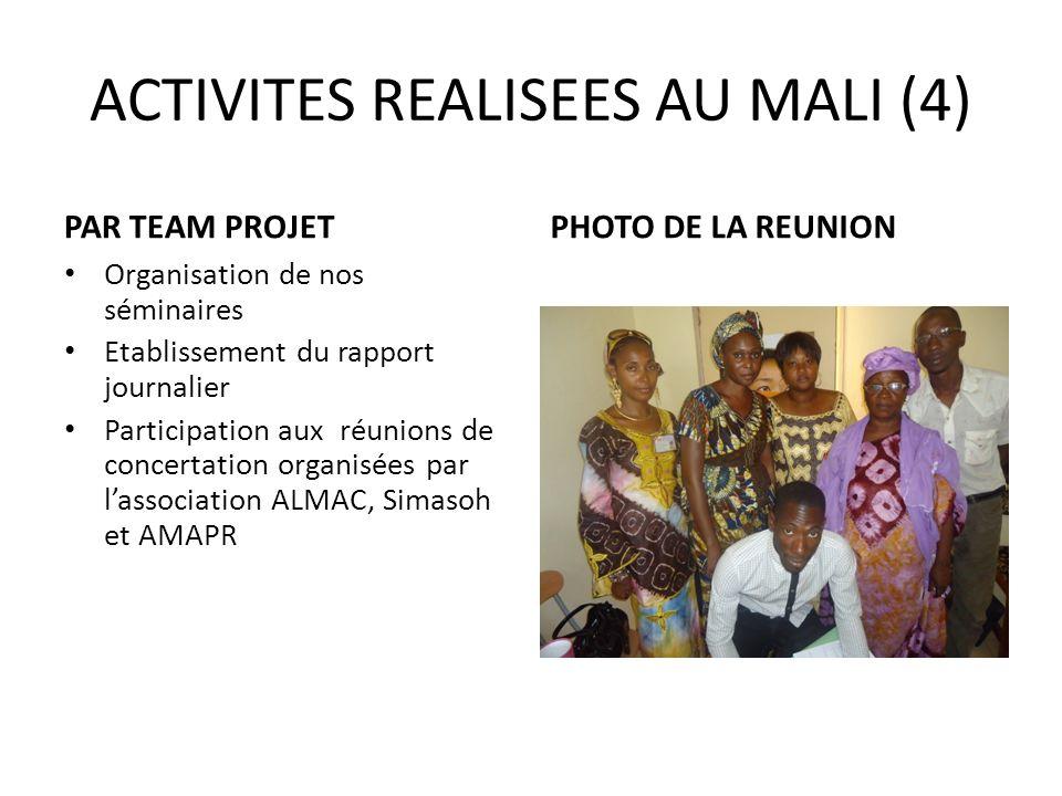 ACTIVITES REALISEES AU MALI (4)