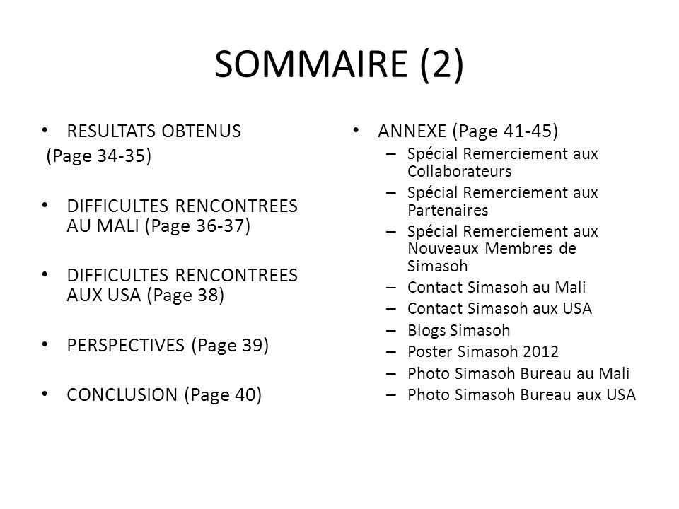 SOMMAIRE (2) RESULTATS OBTENUS (Page 34-35)