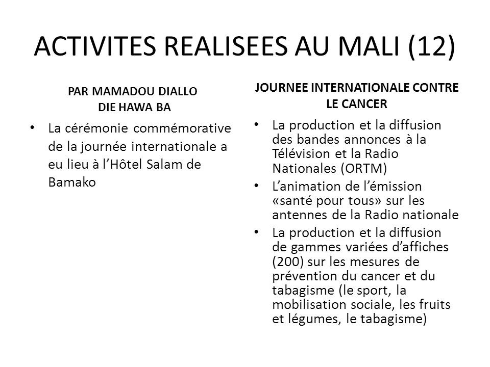 ACTIVITES REALISEES AU MALI (12)