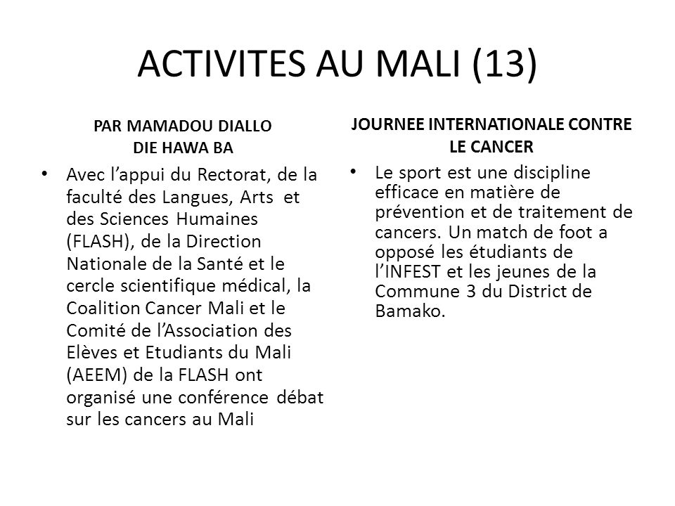 JOURNEE INTERNATIONALE CONTRE LE CANCER