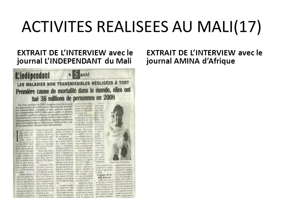 ACTIVITES REALISEES AU MALI(17)