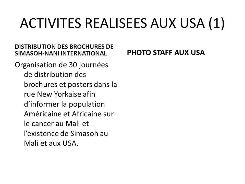 ACTIVITES REALISEES AUX USA (1)