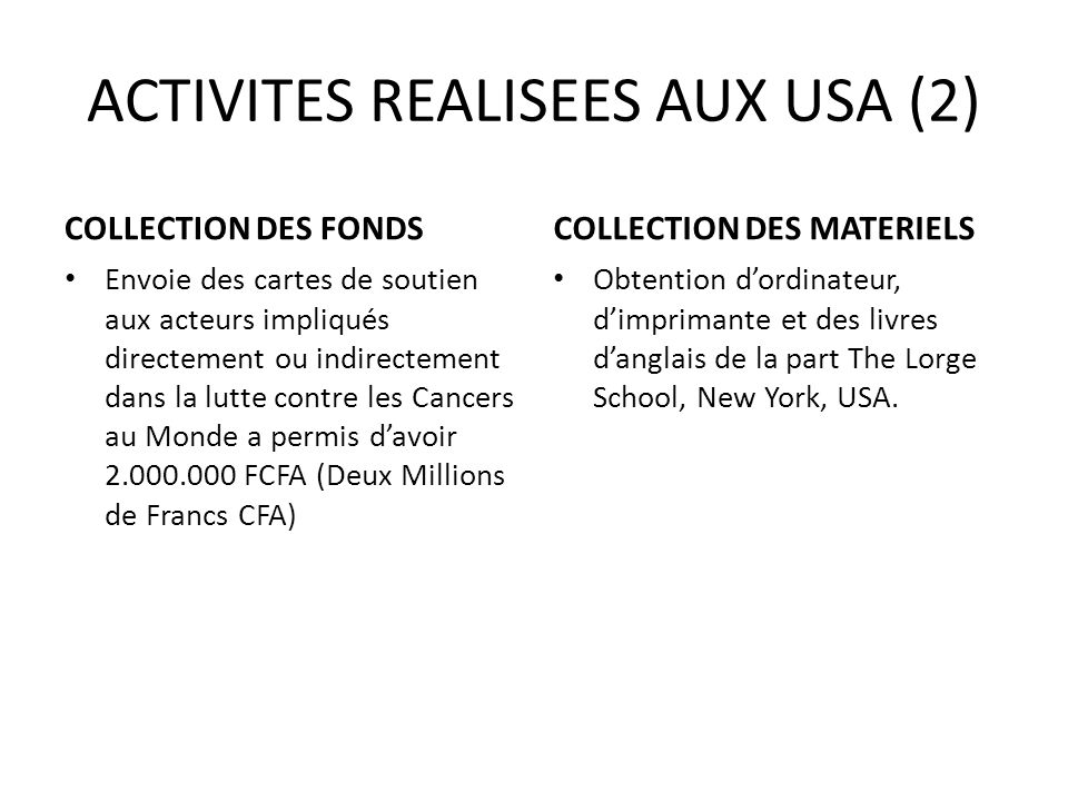 ACTIVITES REALISEES AUX USA (2)