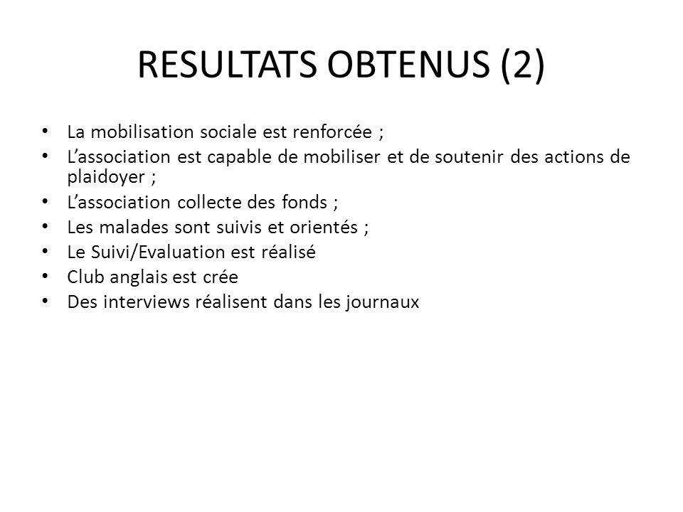 RESULTATS OBTENUS (2) La mobilisation sociale est renforcée ;
