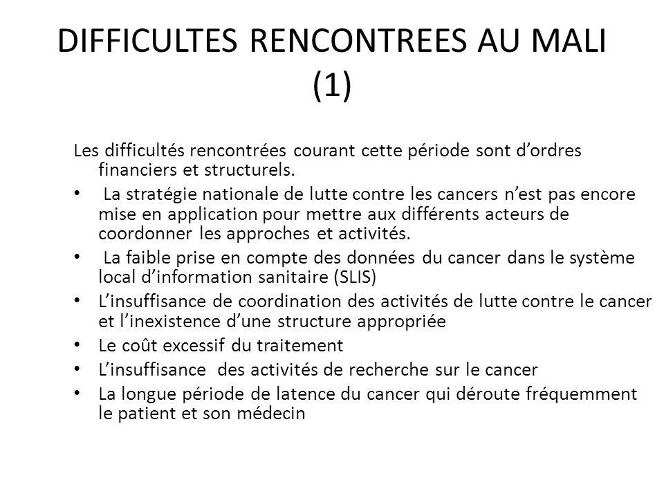 DIFFICULTES RENCONTREES AU MALI (1)