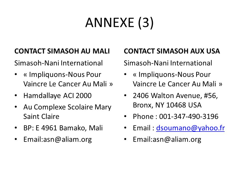 ANNEXE (3) CONTACT SIMASOH AU MALI CONTACT SIMASOH AUX USA