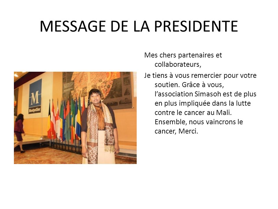 MESSAGE DE LA PRESIDENTE