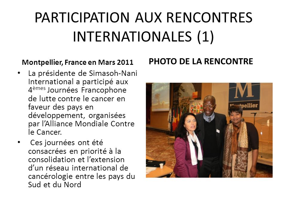 PARTICIPATION AUX RENCONTRES INTERNATIONALES (1)