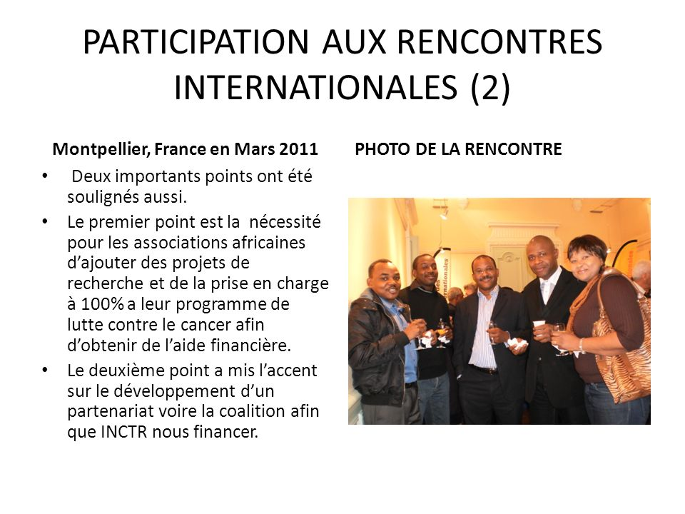 PARTICIPATION AUX RENCONTRES INTERNATIONALES (2)