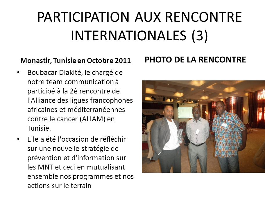 PARTICIPATION AUX RENCONTRE INTERNATIONALES (3)