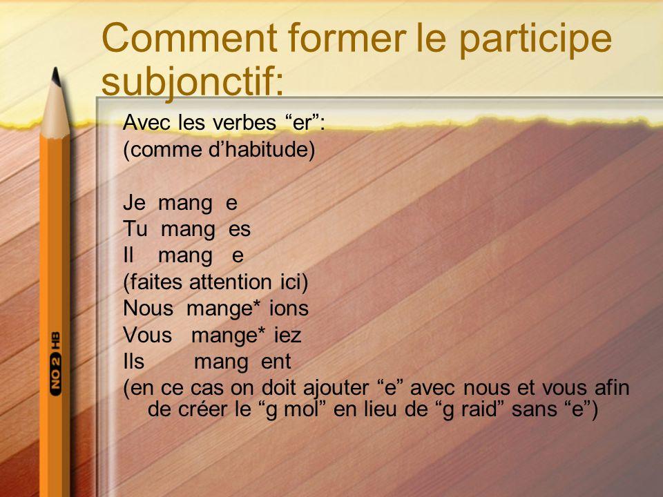 Comment former le participe subjonctif: