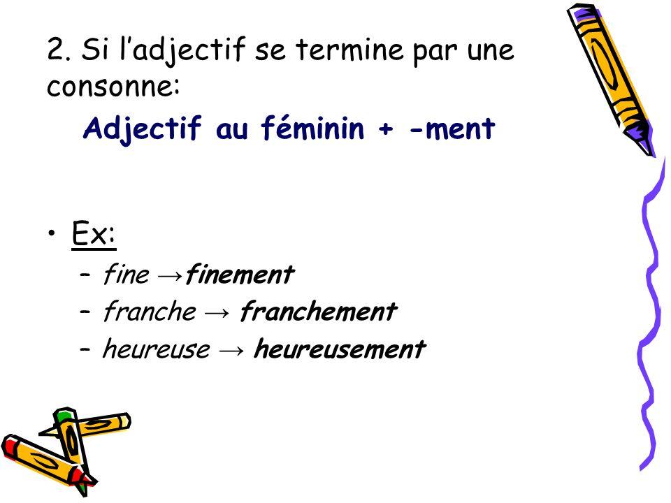 2. Si l'adjectif se termine par une consonne: Adjectif au féminin + -ment